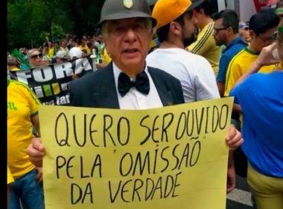 Carlos Alberto Augusto em 2016, durante protestos contra a então presidenta Dilma Rousseff