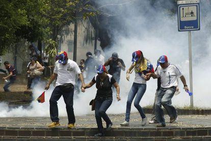 Um grupo de manifestantes no protesto do 22 de março.