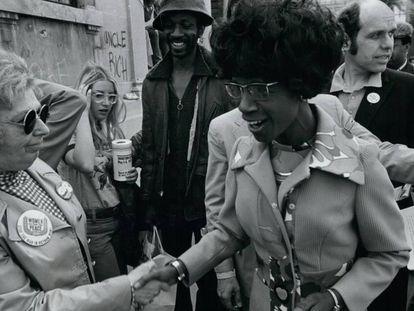 Shirley Chisholm, numa manifestação na Union Square, em Nova York, em maio de 1972.