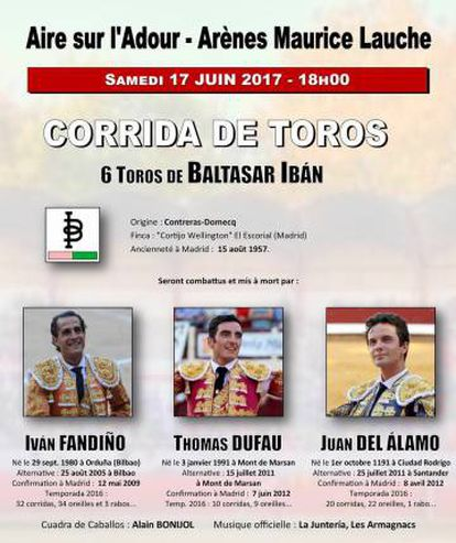 O cartaz da corrida na qual o toureiro foi morto.