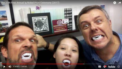 Enrico, Fernanda e Rodrigo, da UFPE, no vídeo em que afirmam aceitar o Ig Nobel