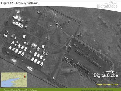 Imagen de satélite que supostamente mostra um batalhão de artilharia russo em Novocherkassk.