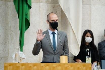 O prefeito reeleito de São Paulo, Bruno Covas (PSDB), faz juramento e toma posse do novo mandato na Câmara Municipal.