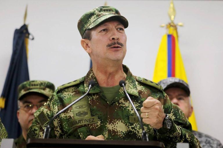 O ex-chefe do Exército colombiano, Nicacio Martínez Espinel, em 20 de maio de 2019 durante um pronunciamento.