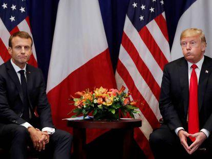 Donald Trump e Emmanuel Macron, nesta segunda-feira, em Nova York.