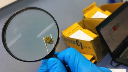 Uma das balas analisadas na investigação.