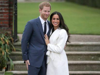 O príncipe Harry e Meghan Markle, no anúncio do noivado, em 27 de novembro de 2017