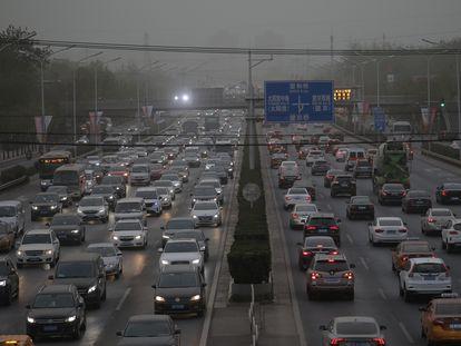 Congestionamento em Pequim, China, em 15 de abril.