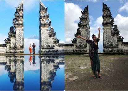 À esquerda, foto falsa do templo de Pura Lempuyang, em Bali (Indonésia). À direita, o aspecto real do santuário.