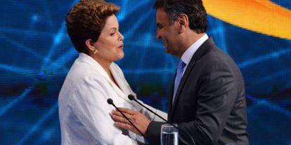 Dilma e Aécio se cumprimentam após debate da Band.