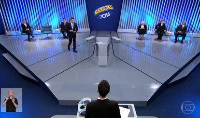 Os candidatos paulistanos debatem na TV Globo.
