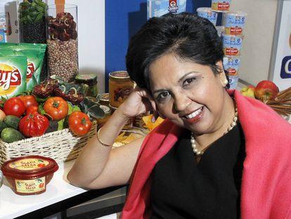 Indra K. Nooyi, presidenta da PepsiCo, em Barcelona.