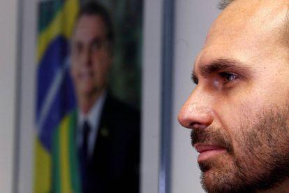 O deputado Eduardo Bolsonaro, em 9 de agosto, no Senado em Brasília.