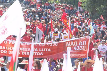 Manifestação do Primeiro de Maio, na Paulista.