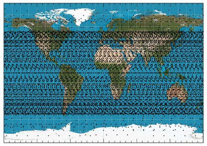 Localização da constelação de satélites Starlink, de acordo com o estudo da Sociedade Espanhola de Astronomia.