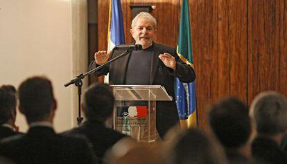 O ex-presidente Luiz Inácio Lula da Silva, em uma palestra para empresários franceses no último dia 15.