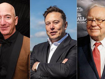 Jeff Bezos, Elon Musk e Warren Buffett.