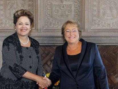 Rousseff, na posse de Bachelet nesta terça-feira.