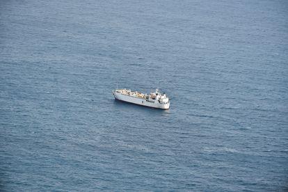 O cargueiro 'Karim Allah' perto de Cartagena (sul da Espanha), em 25 de fevereiro.