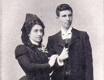 Marcela e Elisa, na foto de seu casamento