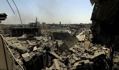 Edifícios destruídos pelos confrontos em Mossul, Iraque