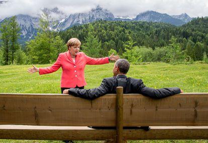 Merkel e Obama, no G7 em Krün (Alemanha), em 8 de junho de 2015, em imagem divulgada pela Casa Branca.