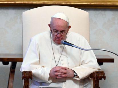 O papa Francisco durante sua audiência semanal.