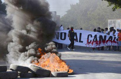 Protestos em Manágua contra o canal interoceânico.
