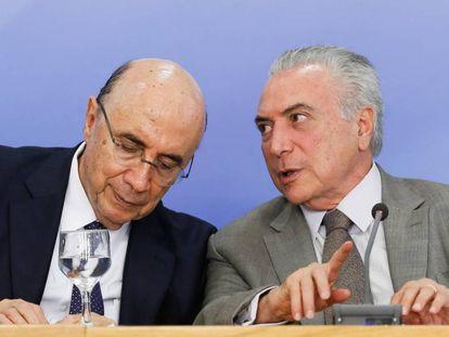 Henrique Meirelles, ministro da Fazenda, e o presidente Michel Temer.