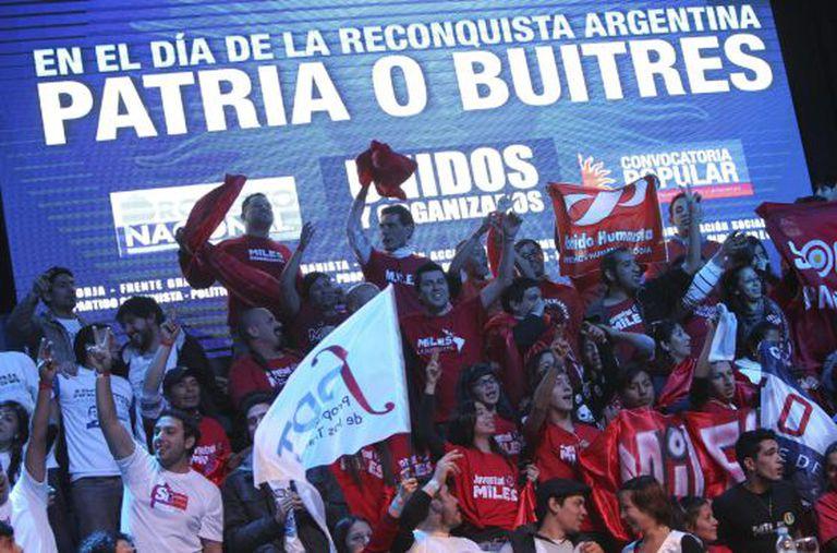 Manifestación em Buenos Aires pela crise da dívida.