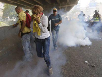 Distúrbios nas manifestações desta quarta-feira em Caracas.