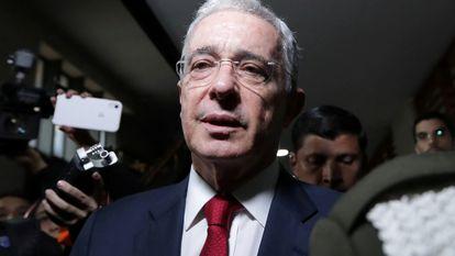 O ex-presidente colombiano Álvaro Uribe na Corte Suprema, numa imagem de outubro de 2019.