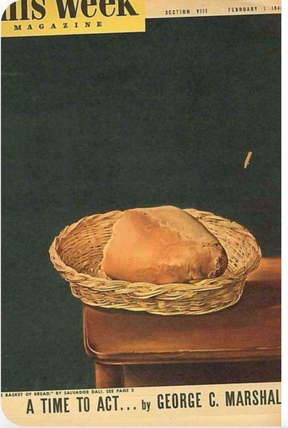 Capa da revista 'The Week Magazine' de fevereiro de 1948 com 'A Cesta de Pão', obra de Dalí, para anunciar o Plano Marshall.