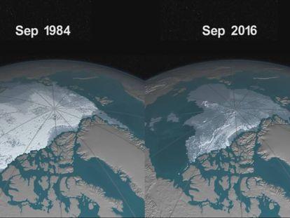 Assim evoluiu o gelo do Ártico.