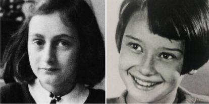 Anne Frank (à esquerda) e Audrey Hepburn em uma imagem de sua infância.