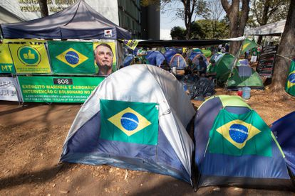 Acampamento de apoiadores do presidente Jair Bolsonaro nesta quinta-feira, na Esplanada dos Ministérios, em Brasília.
