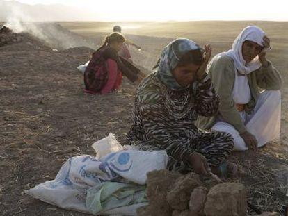 Deslocados da minoria yazidi na cidade de Sinyar, no norte do Iraque.
