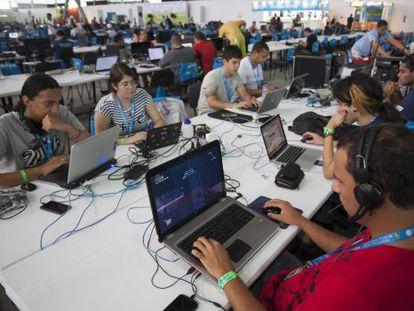 Jovens na última Campus Party, em São Paulo.
