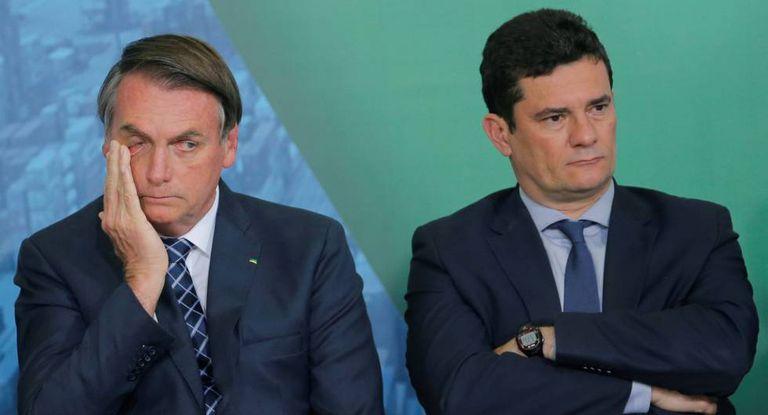 El presidente de Brasil, Jair Bolsonaro, junto al ministro de Justicia, Sérgio Moro.