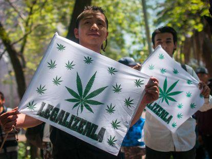 Manifestação a favor da legalização da maconha no México.