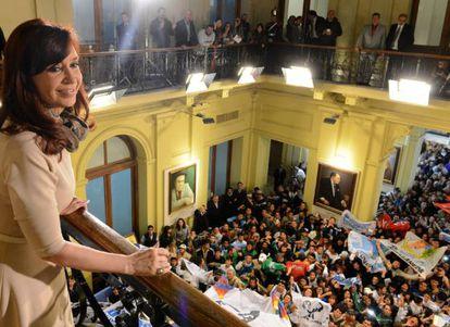 A presidenta Cristina Fernández de Kirchner, em um ato oficial.
