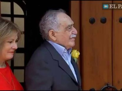 Gabriel García Márquez na porta de sua casa no último dia 6 de março