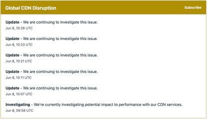 CAptura das atualizações da Fastly sobre o incidente.