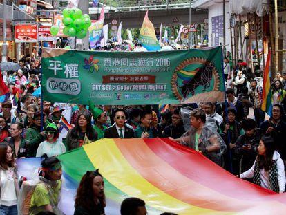Manifestação do Orgulho Gay em Hong Kong, no dia 26 de novembro de 2016