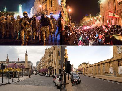 Imagens dos manifestantes em Beirute, em dezembro, e logo abaixo, o mesmo lugar em 26 de março.
