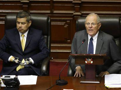 O presidente de Peru, Pedro Pablo Kuczynski, nesta quinta-feira no Congresso.