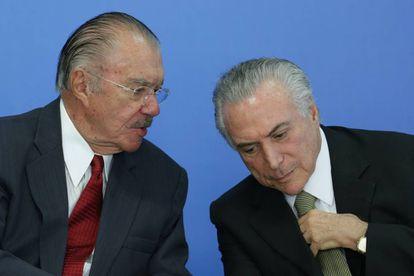 Sarney com Temer na cerimônia de posse de Marcelo Calero no Ministério da Cultura, nesta terça-feira.