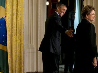 Dilma Rousseff e Barack Obama durante a visita oficial da presidenta aos EUA.