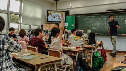 Sala de aula na Coreia do Sul.