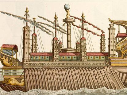 Ilustração do século XVIII de uma embarcação como a que Calígula utilizava.
